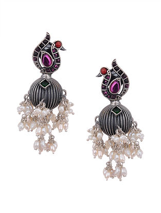 Multicolored Kempstone Encrusted Tribal Silver Earrings with Pearls