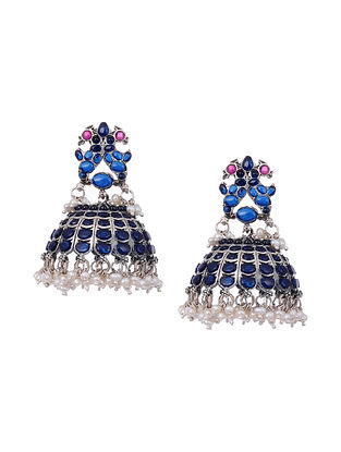 Blue Maroon Temple Silver Jhumki Earrings with Pearls