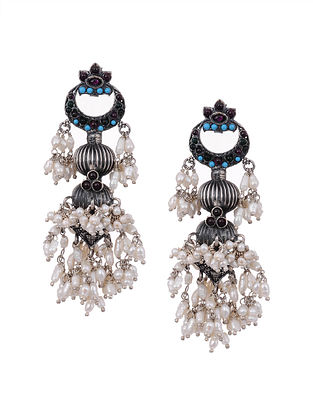 Turquoise and Kempstone Encrusted Tribal Silver Earrings with Pearls
