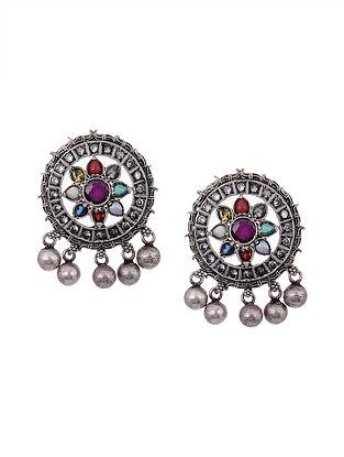 Navrattan Tribal Silver Earrings