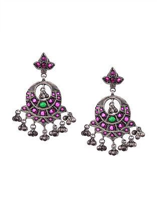 Kempstone Encrusted Tribal Silver Earrings