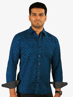 Blue Printed Full Sleeve Cotton Shirt
