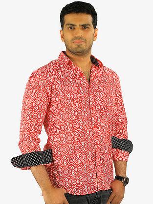 Red-Black Printed Full Sleeve Cotton Shirt