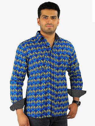 Indigo-Golden Printed Full Sleeve Cotton Shirt