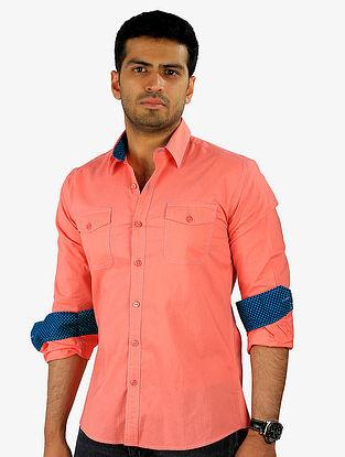 Peach-Blue Full Sleeve Cotton Shirt