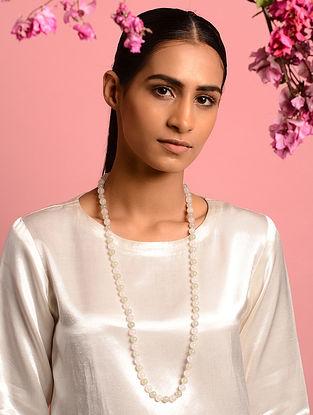 White-Green Rose Quartz and Jade Beaded Necklace