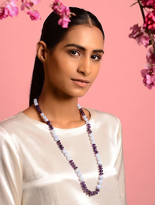 Purple-White Agate and Amethyst Beaded Necklace