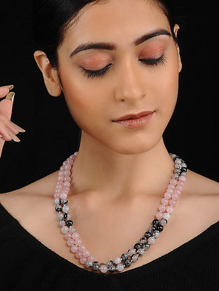 Black Pink Rose Quartz and Rutile Beaded Necklace