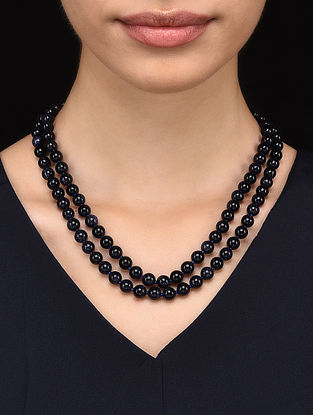 Black Sunstone Beaded Necklace