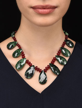 Zoisite and Red Quartz Beaded Necklace