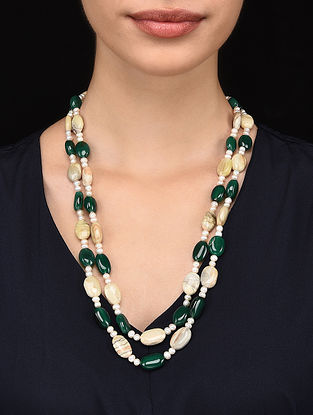 Green Onyx and Pearl Beaded Necklace
