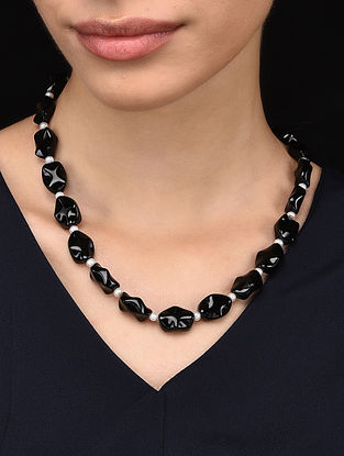 Black Onyx and Freshwater Pearl Beaded Necklace