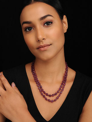 Maroon Glass Beaded Necklace