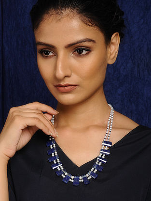 Lapiz Lazuli and Freshwater Pearl Beaded Necklace