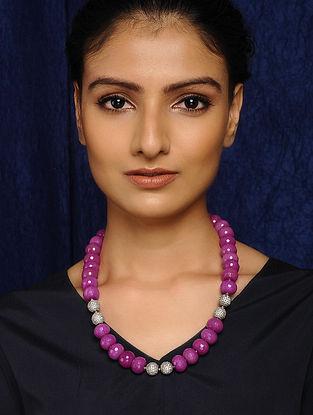 Pink Quartz Silver Tone Beaded Necklace