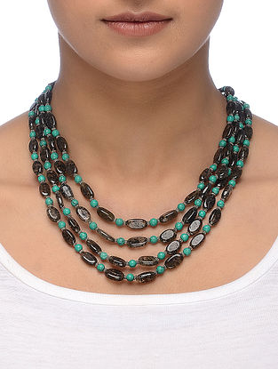 Brown Rutile and Turquoise Multi-String Beaded Necklace