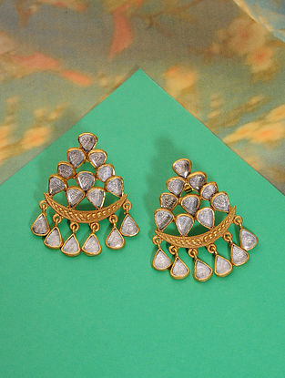 Gold Plated Polki Silver Earrings