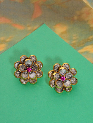 Pink Gold Plated Polki Silver Earrings