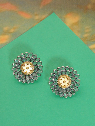 Dual Tone Silver Earrings with Glass Crystals