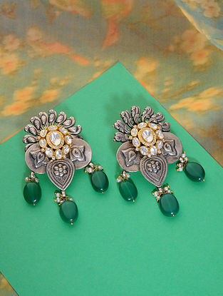 Dual Tone Kundan Silver Earrings with Green Onyx