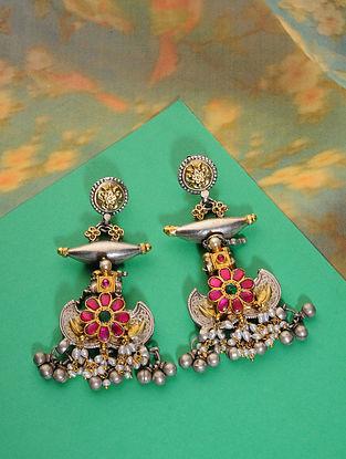 Pink Green Meenakari Dual Tone Silver Earrings with Pearls
