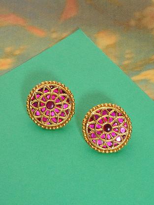 Pink Meenakari Gold Plated Silver Earrings