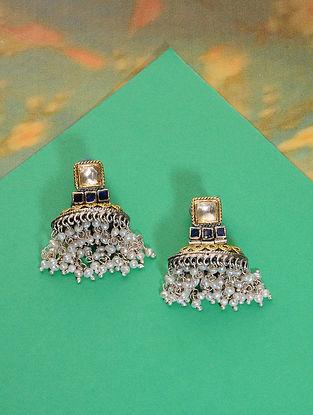Blue Meenakari Gold Plated Silver Jhumki Earrings with Pearls