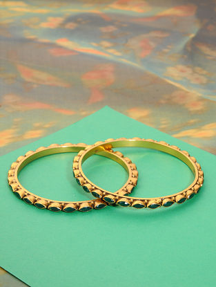 Gold Plated Silver Bangles with Green Onyx (Set of 2)(Bangle Size: 2/4)
