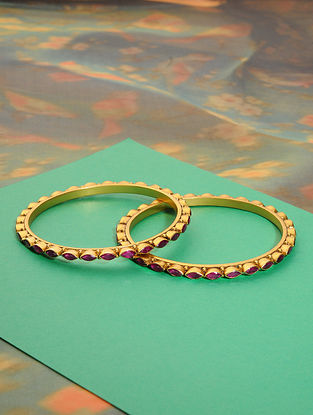 Gold Plated Silver Bangles with Red Onyx (Set of 2)(Bangle Size: 2/4)