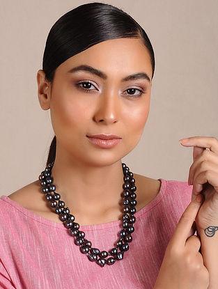 Black Baroque Pearl Beaded Silver Necklace