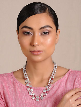 Baroque Pearl and Ruby Beaded Silver Necklace