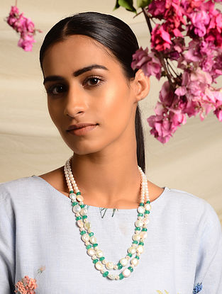 Green Jade and Pearl Beaded Necklace