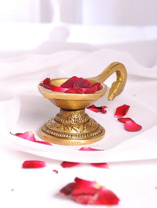 Golden Handmade Brass Oil Lamp (L - 4.2in, W - 2in, H - 1.6in)