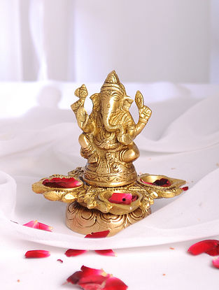 Golden Handmade Brass Ganesh Oil Lamp with 4 Diyas (L - 4.6in, W - 4.6in, H - 4.7in)