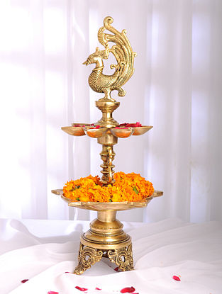 Golden Handmade Brass Peacock Oil Lamp with 12 Diyas (L - 9.5in, W - 9.5in, H - 20.5in)