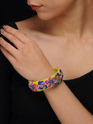 Yellow-Multicolored Hand Embroidered Bangle