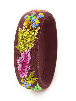 Brown-Multicolored Hand-Embroidered Bangle