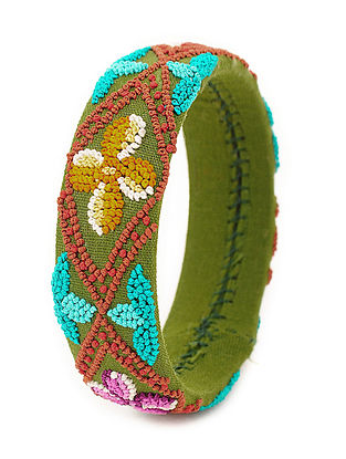 Green-Multicolored Hand-Embroidered Bangle