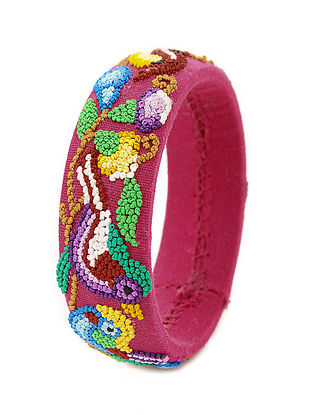 Pink-Multicolored Hand-Embroidered Bangle