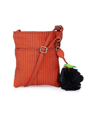 Rust Silk Sling Bag with Tassel and Hand-painted Bead - 8.2in x 7.5in