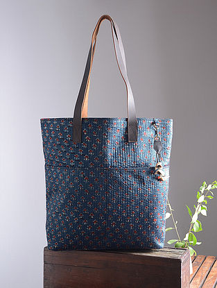 Blue-Red Hand Block-Printed Mashru Silk Tote with Tassels and Hand-Painted Wooden Beads