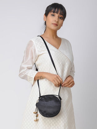 Black Quilted Mashru and Chroma Silk Sling Bag with Hand-Painted Wooden Beads