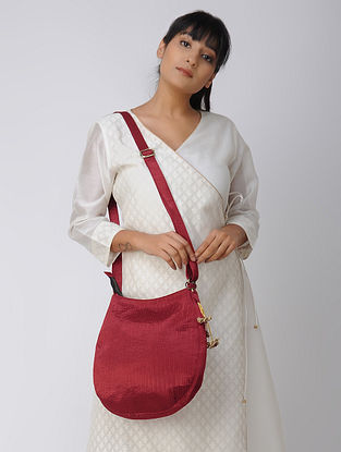 Maroon Handcrafted Mashru and Chroma Silk Hobo Bag with Hand-Painted Wooden Beads