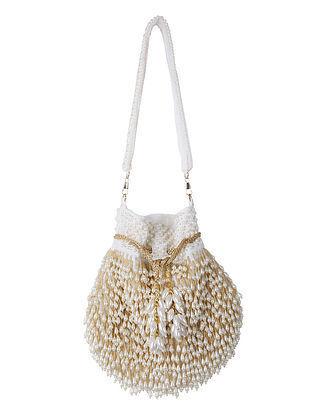 Beige Pearl Embellished Velvet Potli