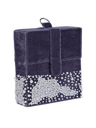 Grey Velvet Box Clutch