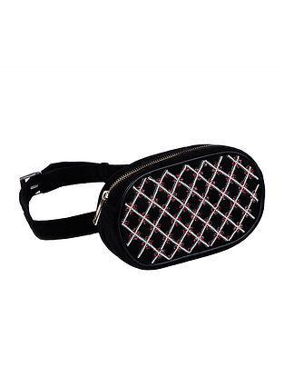 Black Pink Pearl Embellished Velvet Waist Bag