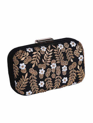 Black Gold Embroidered Silk Clutch