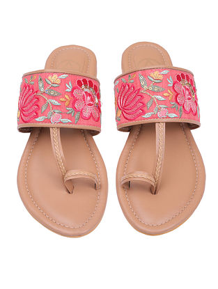 Pink Handcrafted Vegan Leather Kolhapuri Flats