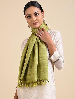 Green Handwoven Ghicha Banana Silk Stole