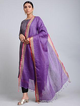 Purple Handwoven Linen Dupatta with Zari Border